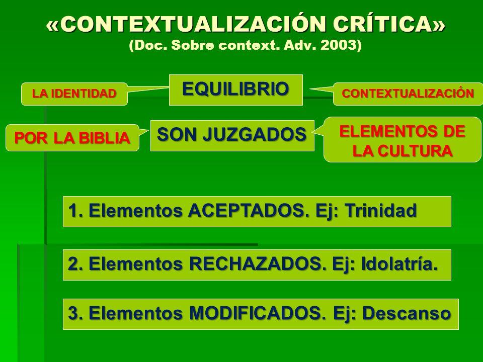 SON JUZGADOS «CONTEXTUALIZACIÓN CRÍTICA» «CONTEXTUALIZACIÓN CRÍTICA» (Doc. Sobre context. Adv. 2003) LA IDENTIDAD CONTEXTUALIZACIÓN POR LA BIBLIA ELEM