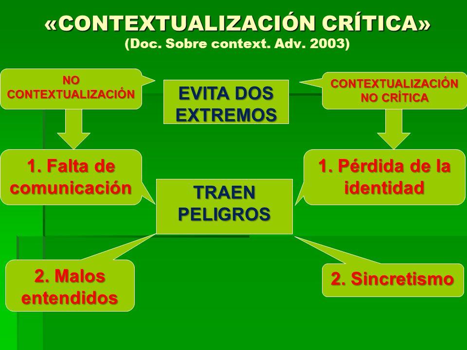 TRAEN PELIGROS «CONTEXTUALIZACIÓN CRÍTICA» «CONTEXTUALIZACIÓN CRÍTICA» (Doc. Sobre context. Adv. 2003) NO CONTEXTUALIZACIÓN CONTEXTUALIZACIÓN NO CRÍTI