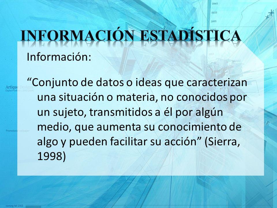 Información: Conjunto de datos o ideas que caracterizan una situación o materia, no conocidos por un sujeto, transmitidos a él por algún medio, que au