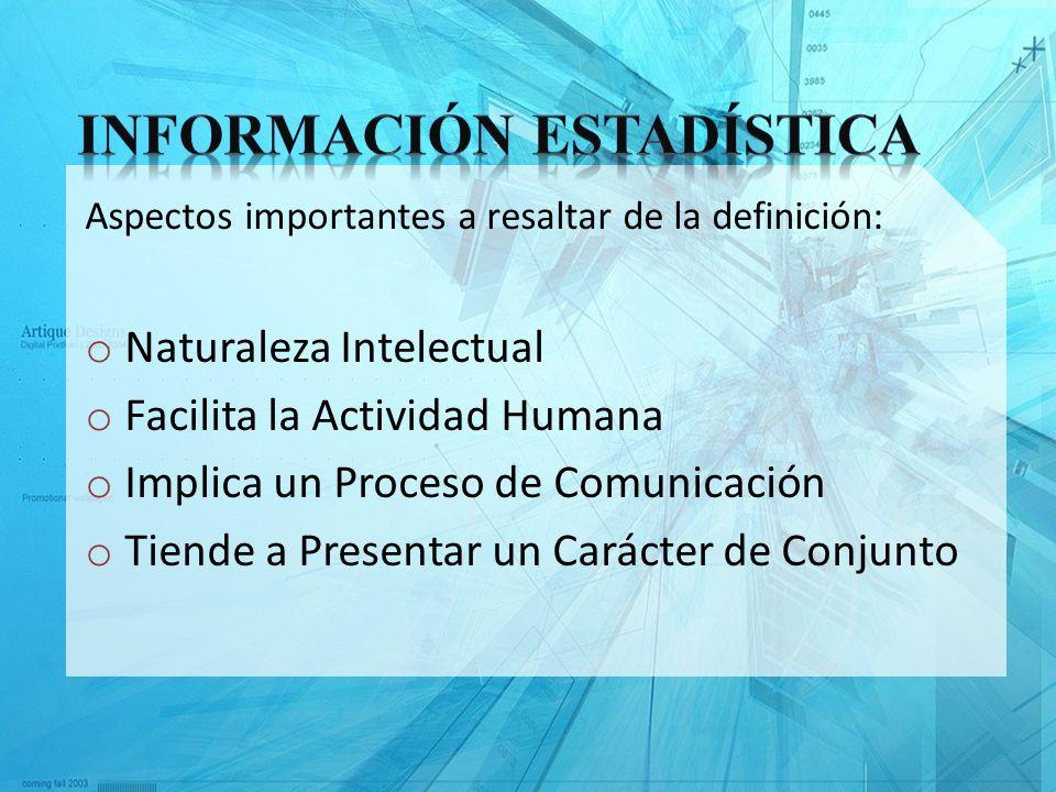 Aspectos importantes a resaltar de la definición: o Naturaleza Intelectual o Facilita la Actividad Humana o Implica un Proceso de Comunicación o Tiend