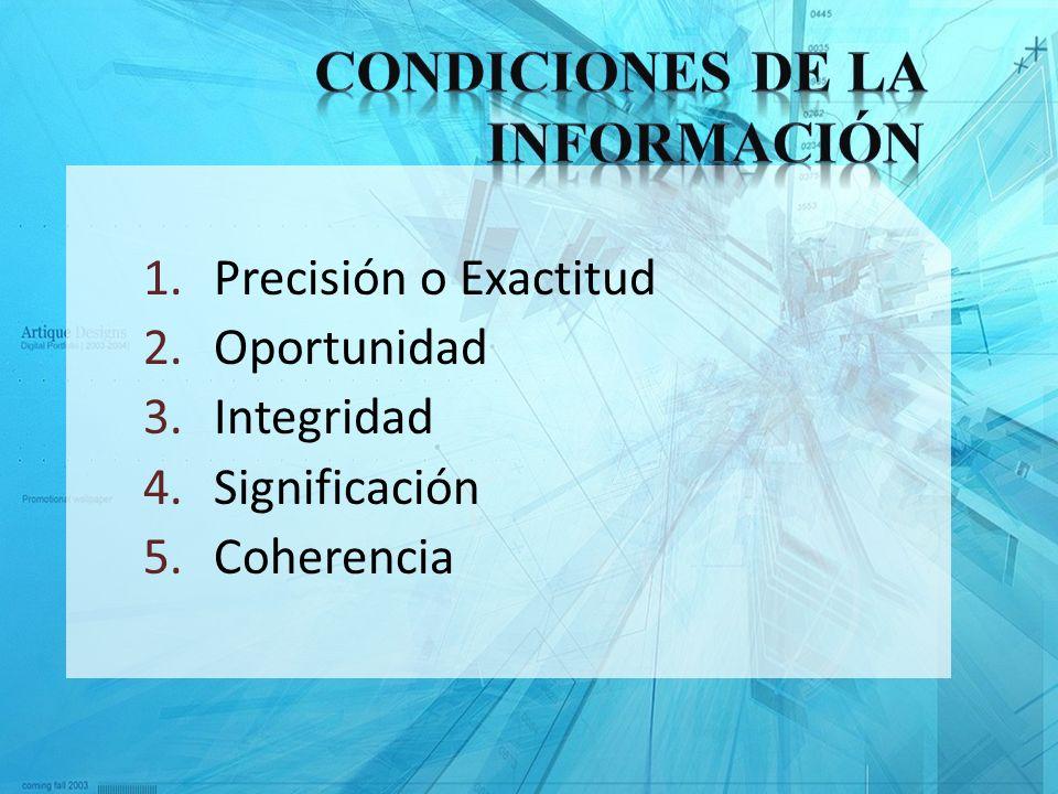 1.Precisión o Exactitud 2.Oportunidad 3.Integridad 4.Significación 5.Coherencia