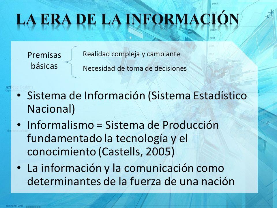 Sistema de Información (Sistema Estadístico Nacional) Informalismo = Sistema de Producción fundamentado la tecnología y el conocimiento (Castells, 200