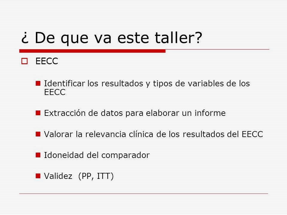 ¿ De que va este taller? EECC Identificar los resultados y tipos de variables de los EECC Extracción de datos para elaborar un informe Valorar la rele