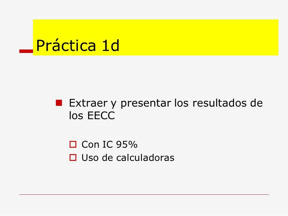Práctica 1d Extraer y presentar los resultados de los EECC Con IC 95% Uso de calculadoras