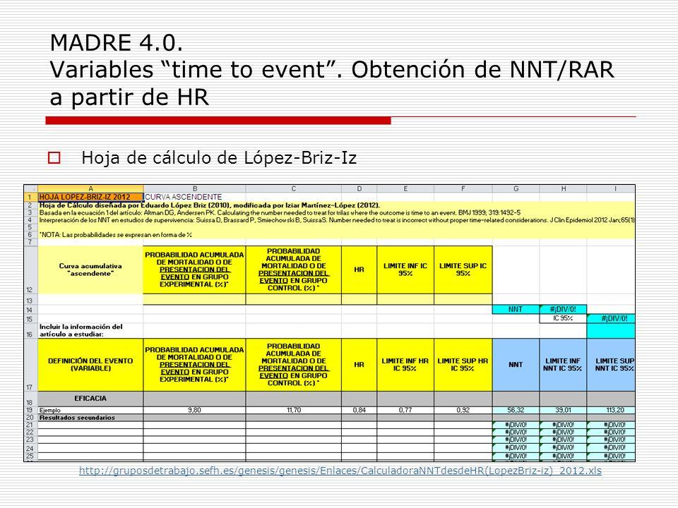MADRE 4.0. Variables time to event. Obtención de NNT/RAR a partir de HR Hoja de cálculo de López-Briz-Iz http://gruposdetrabajo.sefh.es/genesis/genesi