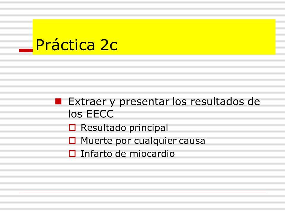 Práctica 2c Extraer y presentar los resultados de los EECC Resultado principal Muerte por cualquier causa Infarto de miocardio