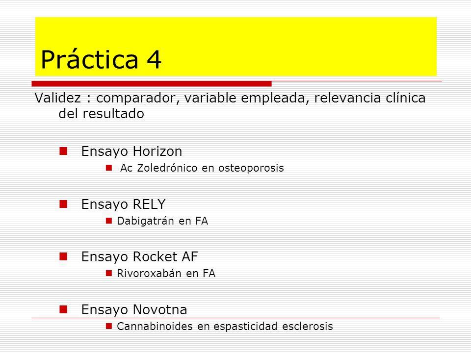 Validez : comparador, variable empleada, relevancia clínica del resultado Ensayo Horizon Ac Zoledrónico en osteoporosis Ensayo RELY Dabigatrán en FA E