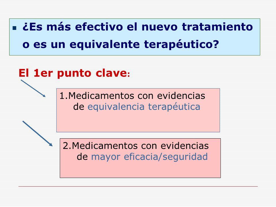 El 1er punto clave : 1.Medicamentos con evidencias de equivalencia terapéutica 2.Medicamentos con evidencias de mayor eficacia/seguridad ¿Es más efect