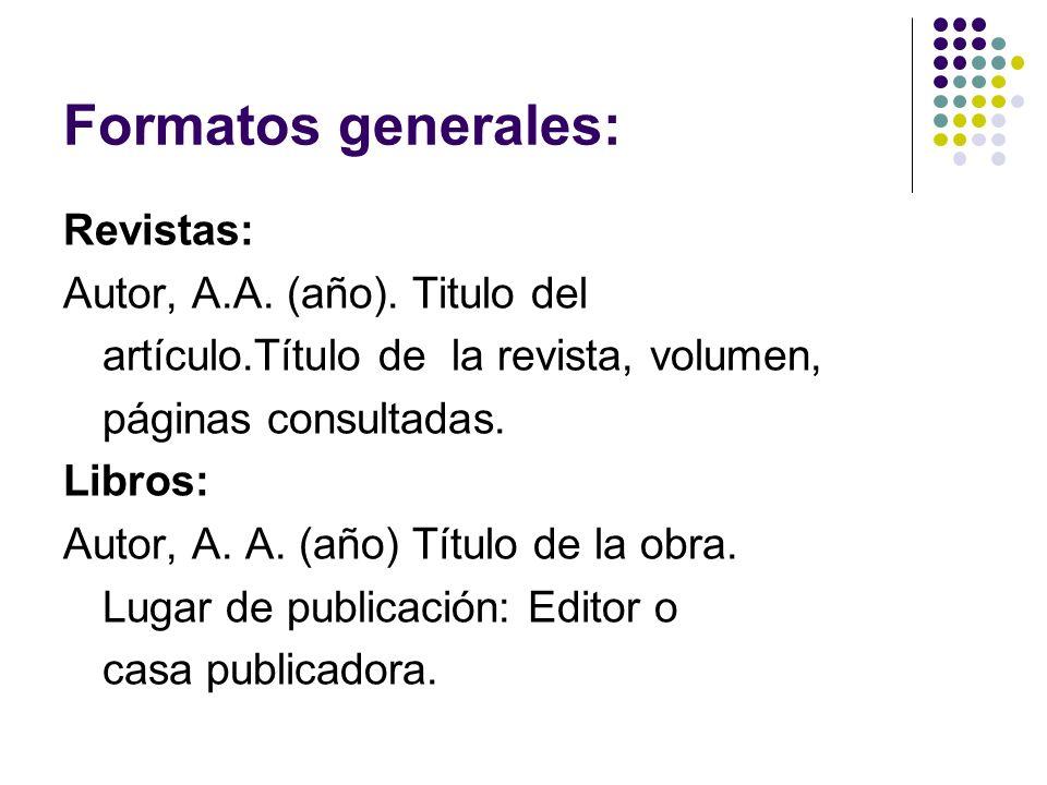 Cont.Formatos generales Recursos electrónicos: Autor de la página.
