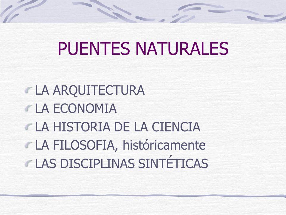 PUENTES NATURALES LA ARQUITECTURA LA ECONOMIA LA HISTORIA DE LA CIENCIA LA FILOSOFIA, históricamente LAS DISCIPLINAS SINTÉTICAS