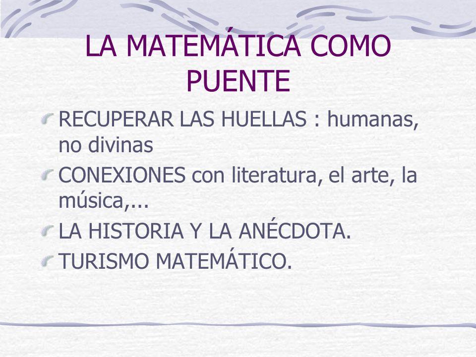 LA MATEMÁTICA COMO PUENTE RECUPERAR LAS HUELLAS : humanas, no divinas CONEXIONES con literatura, el arte, la música,...