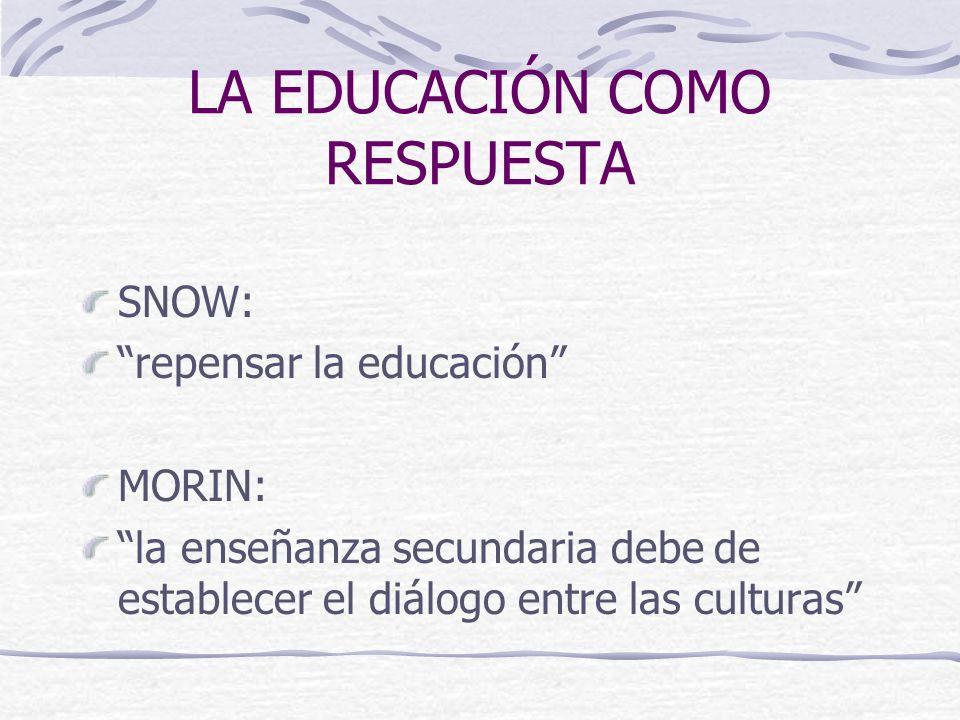 LA EDUCACIÓN COMO RESPUESTA SNOW: repensar la educación MORIN: la enseñanza secundaria debe de establecer el diálogo entre las culturas