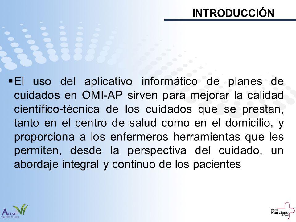 INTRODUCCIÓN El uso del aplicativo informático de planes de cuidados en OMI-AP sirven para mejorar la calidad científico-técnica de los cuidados que s
