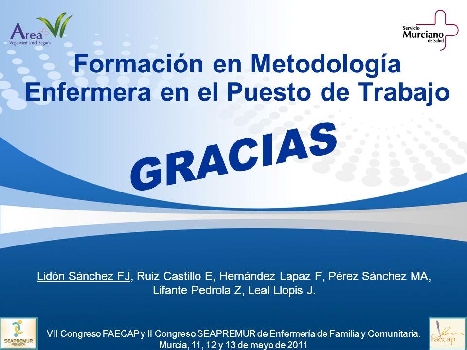 Formación en Metodología Enfermera en el Puesto de Trabajo Lidón Sánchez FJ, Ruiz Castillo E, Hernández Lapaz F, Pérez Sánchez MA, Lifante Pedrola Z,