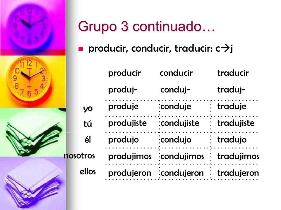 Grupo 3 continuado… producir, conducir, traducir: c j tútú ellos nosotros élélyo tradujeroncondujeronprodujeron tradujimoscondujimosprodujimos tradujo