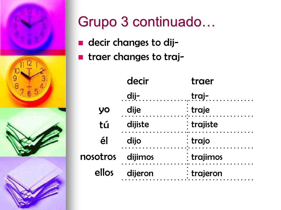trajerondijeron trajimosdijimos trajodijo trajistedijiste trajedije traj-dij- traerdecir Grupo 3 continuado… decir changes to dij- traer changes to tr