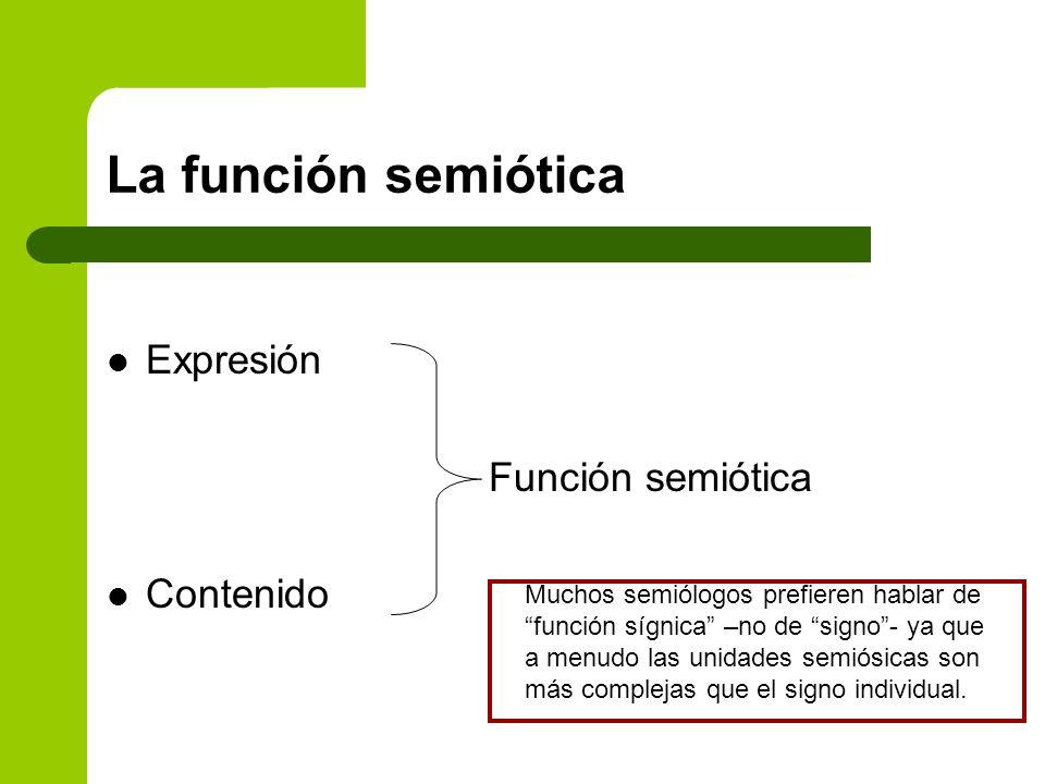 La función semiótica Expresión Función semiótica Contenido Muchos semiólogos prefieren hablar de función sígnica –no de signo- ya que a menudo las uni
