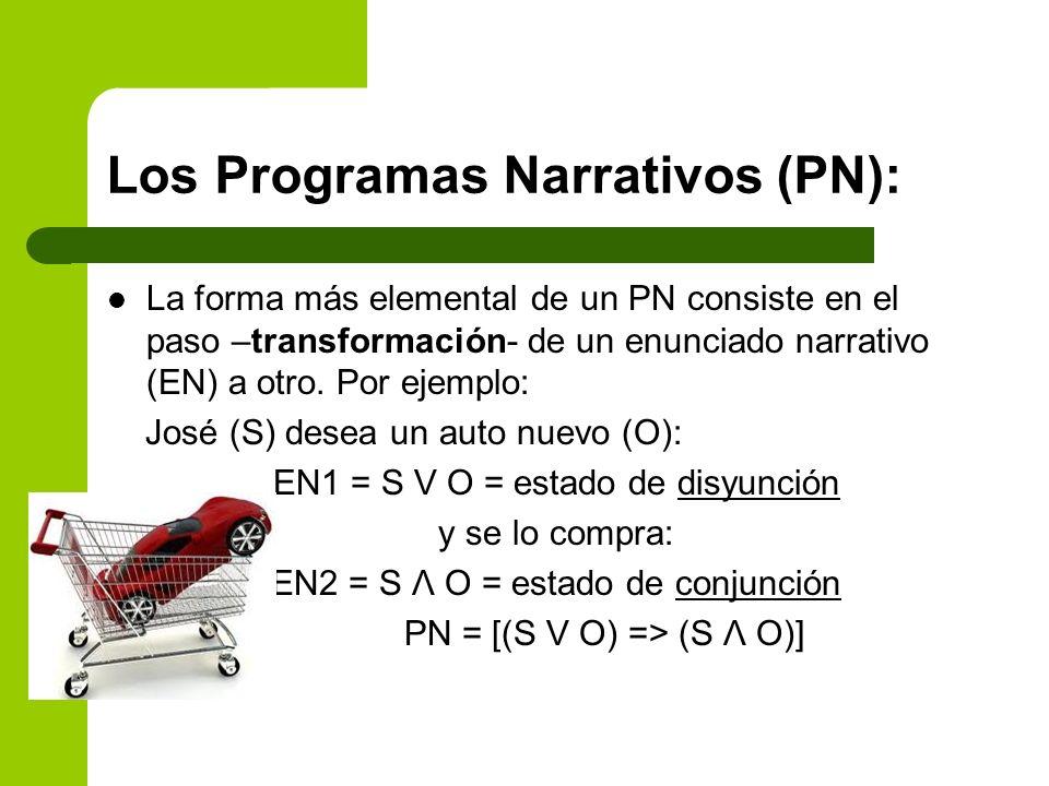 Los Programas Narrativos (PN): La forma más elemental de un PN consiste en el paso –transformación- de un enunciado narrativo (EN) a otro. Por ejemplo