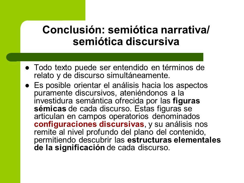 Conclusión: semiótica narrativa/ semiótica discursiva Todo texto puede ser entendido en términos de relato y de discurso simultáneamente. Es posible o