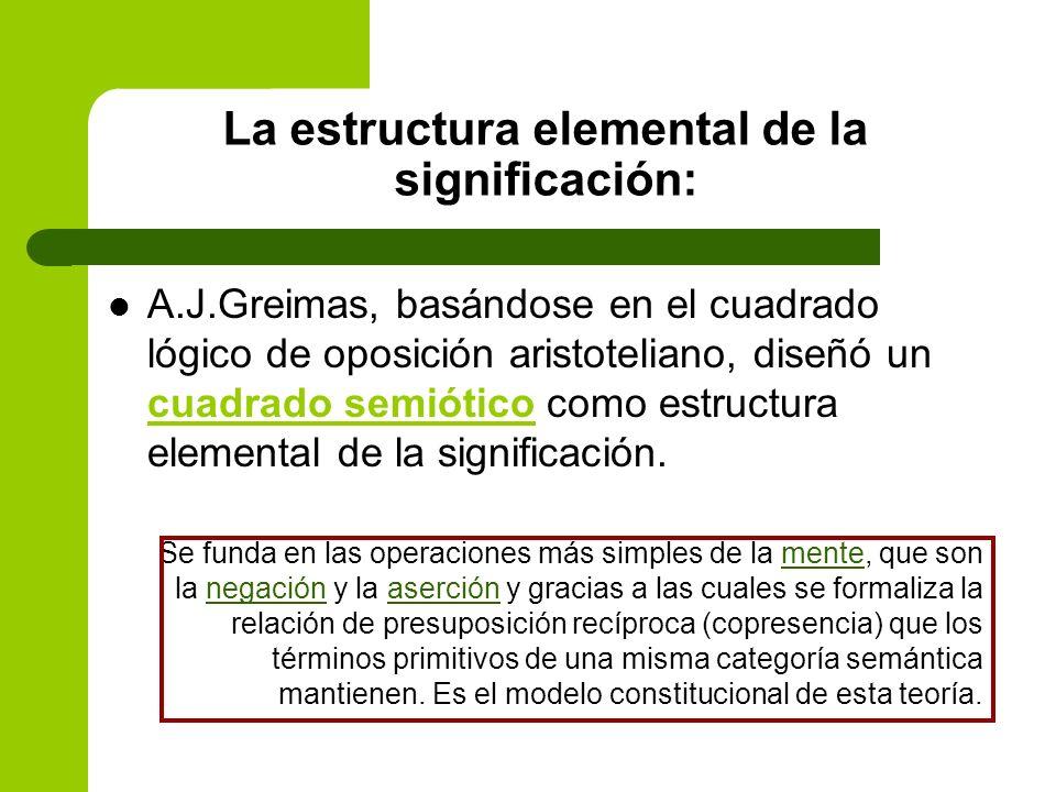 La estructura elemental de la significación: A.J.Greimas, basándose en el cuadrado lógico de oposición aristoteliano, diseñó un cuadrado semiótico com