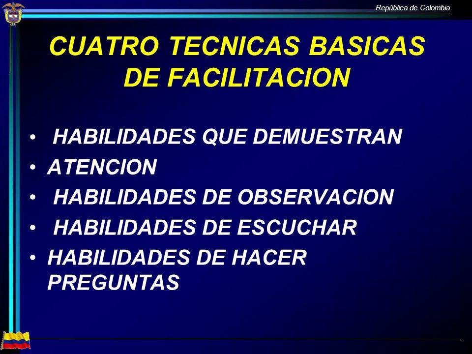 República de Colombia CUATRO TECNICAS BASICAS DE FACILITACION HABILIDADES QUE DEMUESTRAN ATENCION HABILIDADES DE OBSERVACION HABILIDADES DE ESCUCHAR H