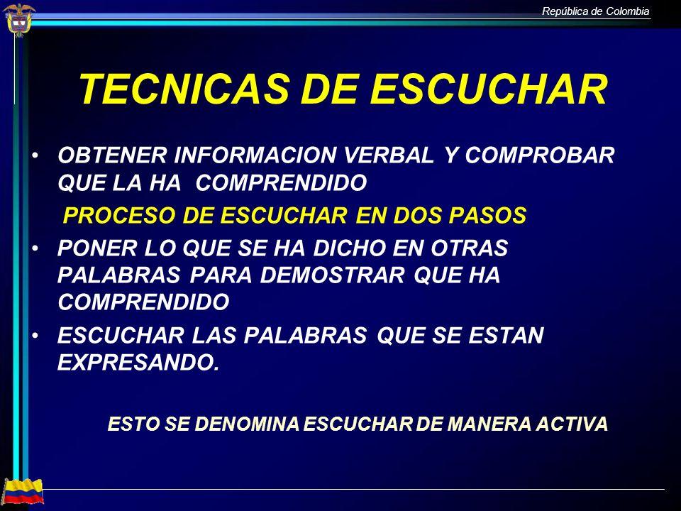 República de Colombia TECNICAS DE ESCUCHAR OBTENER INFORMACION VERBAL Y COMPROBAR QUE LA HA COMPRENDIDO PROCESO DE ESCUCHAR EN DOS PASOS PONER LO QUE