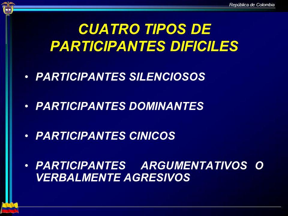 República de Colombia CUATRO TIPOS DE PARTICIPANTES DIFICILES PARTICIPANTES SILENCIOSOS PARTICIPANTES DOMINANTES PARTICIPANTES CINICOS PARTICIPANTES A