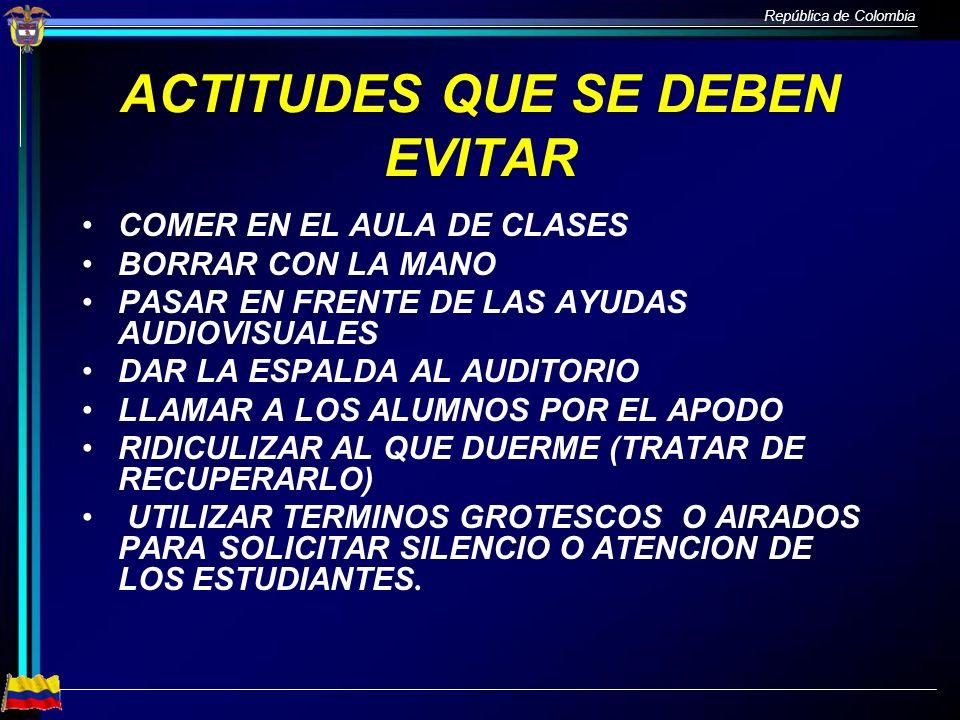 República de Colombia ACTITUDES QUE SE DEBEN EVITAR COMER EN EL AULA DE CLASES BORRAR CON LA MANO PASAR EN FRENTE DE LAS AYUDAS AUDIOVISUALES DAR LA E