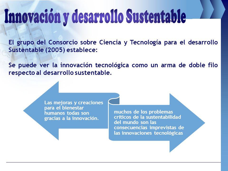El grupo del Consorcio sobre Ciencia y Tecnología para el desarrollo Sustentable (2005) establece: Se puede ver la innovación tecnológica como un arma