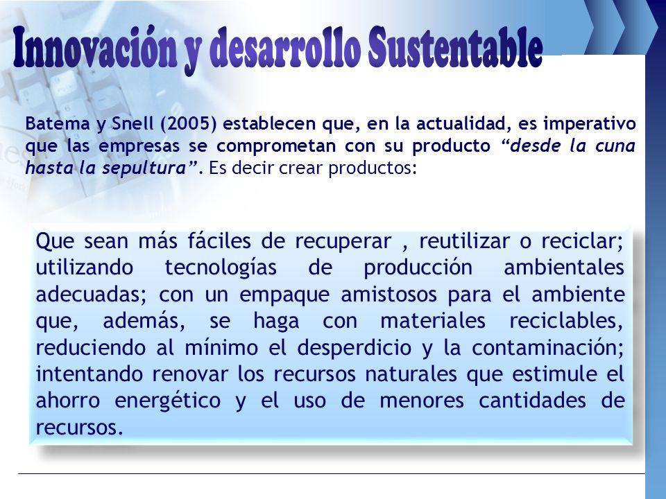 Batema y Snell (2005) establecen que, en la actualidad, es imperativo que las empresas se comprometan con su producto desde la cuna hasta la sepultura