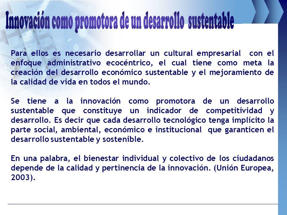 Para ellos es necesario desarrollar un cultural empresarial con el enfoque administrativo ecocéntrico, el cual tiene como meta la creación del desarro