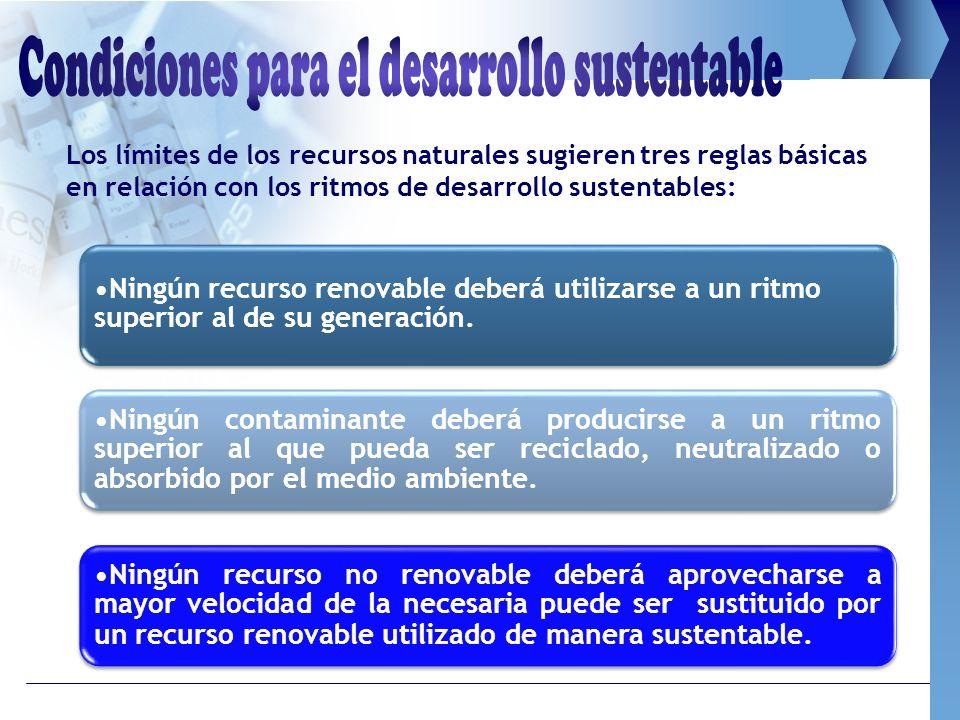 Ningún recurso renovable deberá utilizarse a un ritmo superior al de su generación. Ningún contaminante deberá producirse a un ritmo superior al que p