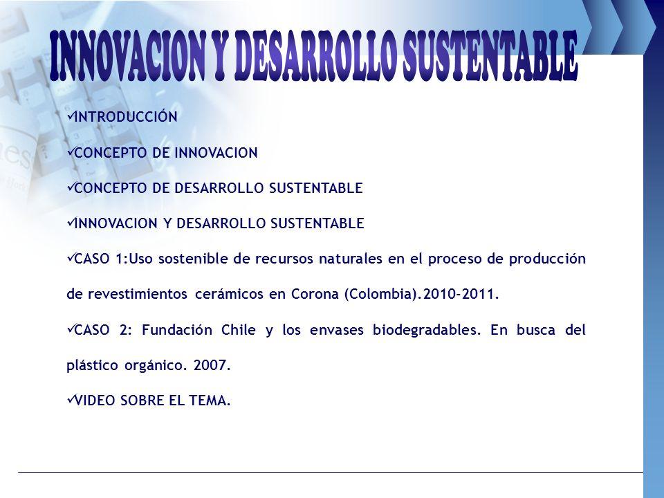 INTRODUCCIÓN CONCEPTO DE INNOVACION CONCEPTO DE DESARROLLO SUSTENTABLE INNOVACION Y DESARROLLO SUSTENTABLE CASO 1:Uso sostenible de recursos naturales
