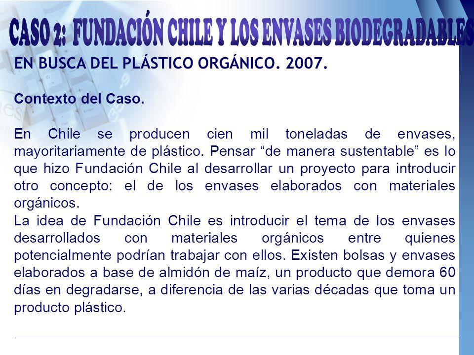EN BUSCA DEL PLÁSTICO ORGÁNICO. 2007. Contexto del Caso. En Chile se producen cien mil toneladas de envases, mayoritariamente de plástico. Pensar de m