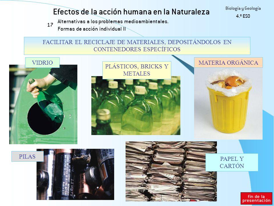 Efectos de la acción humana en la Naturaleza 17 Biología y Geología 4.º ESO Alternativas a los problemas medioambientales. Formas de acción individual