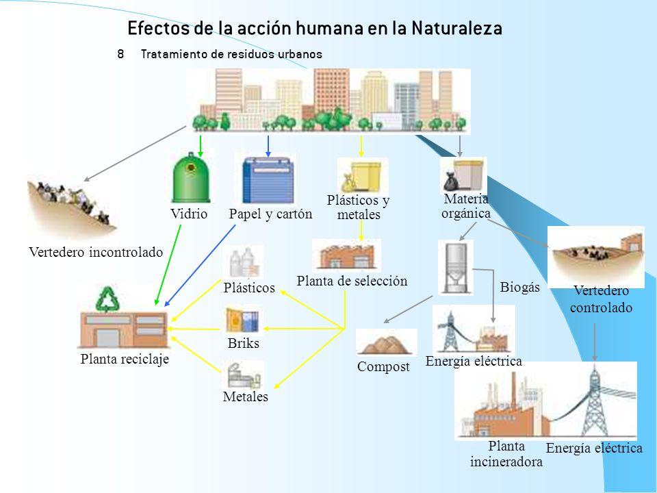 Efectos de la acción humana en la Naturaleza 8 Tratamiento de residuos urbanos Vidrio Materia orgánica Biogás Plásticos y metales Papel y cartón Verte