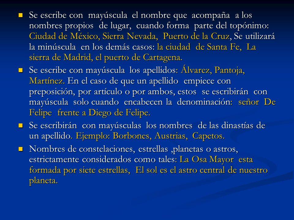 Se escribe con mayúscula el nombre que acompaña a los nombres propios de lugar, cuando forma parte del topónimo: Ciudad de México, Sierra Nevada, Puer