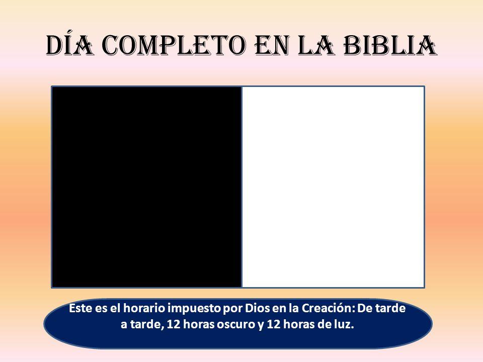 Día completo en la Biblia Este es el horario impuesto por Dios en la Creación: De tarde a tarde, 12 horas oscuro y 12 horas de luz.