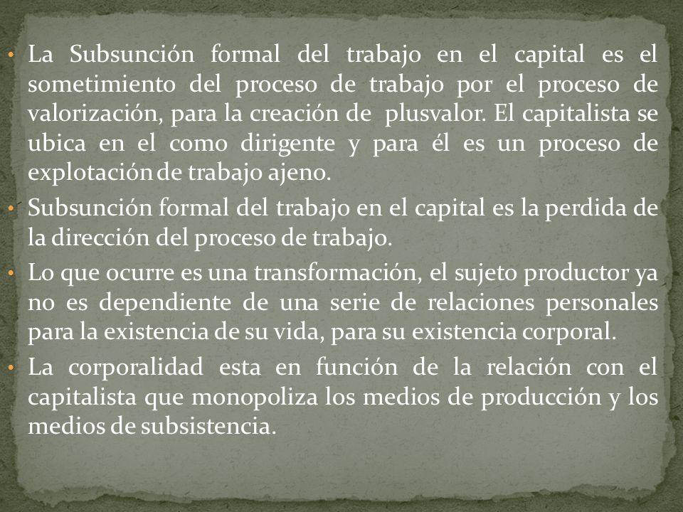 La subsunción formal del trabajo en el capital es el perfeccionamiento de la enajenación de la vida.