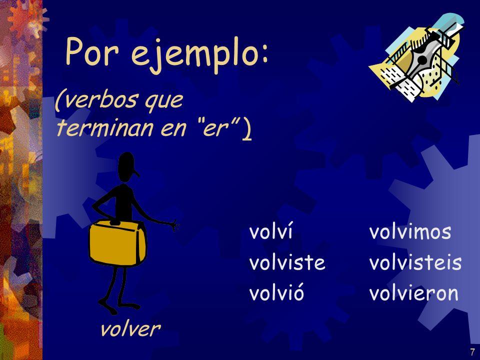 6 (verbos que terminan en ar ) tomé tomaste tomó tomamos tomasteis tomaron Por ejemplo: tomar