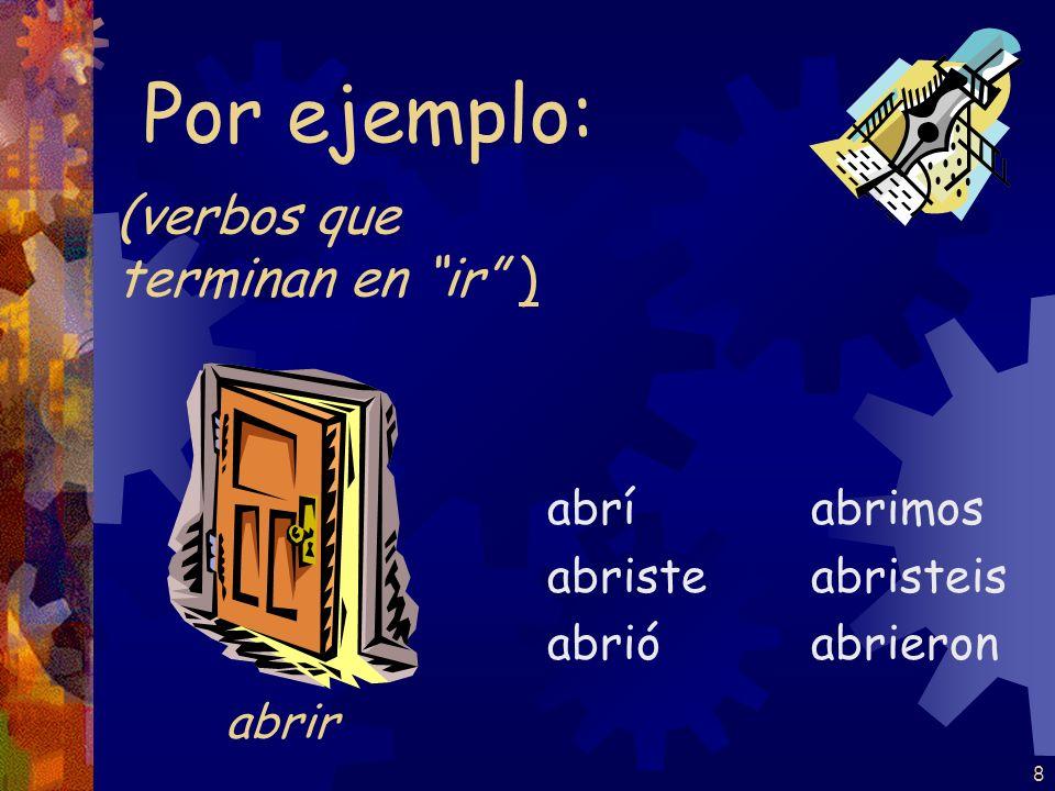 8 (verbos que terminan en ir ) abrí abriste abrió abrimos abristeis abrieron Por ejemplo: abrir