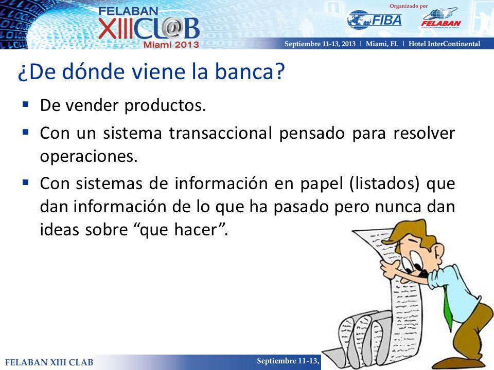 ¿De dónde viene la banca? De vender productos. Con un sistema transaccional pensado para resolver operaciones. Con sistemas de información en papel (l