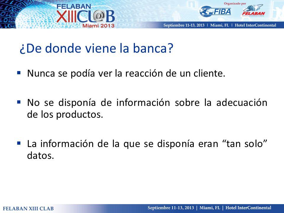 ¿De donde viene la banca? Nunca se podía ver la reacción de un cliente. No se disponía de información sobre la adecuación de los productos. La informa
