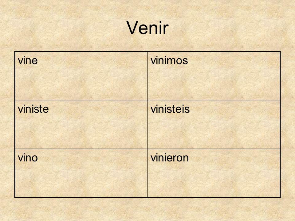Venir vinevinimos vinistevinisteis vinovinieron