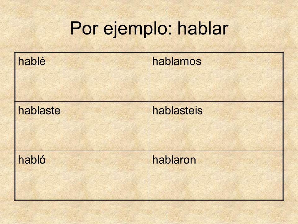 Por ejemplo: hablar habléhablamos hablastehablasteis hablóhablaron