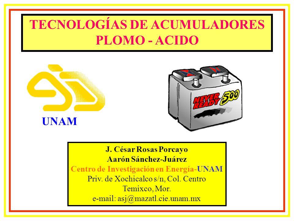Proporción de Capacidad Batería Plomo – Acido Tasa de Descarga Amperio - Hora Tiempo de descarga% of 20 - Horas 20+=104 % 20=100 % 12=93 % 8=88 % 6=84 % De Trojan Battery Company, Julio, 1993.