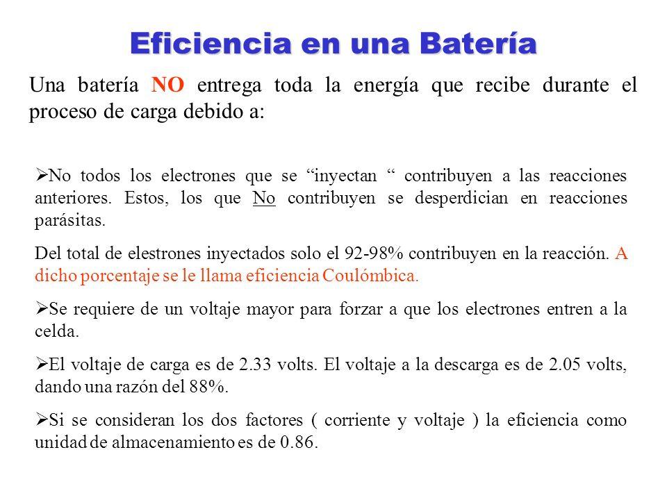 Eficiencia en una Batería Una batería NO entrega toda la energía que recibe durante el proceso de carga debido a: No todos los electrones que se inyec