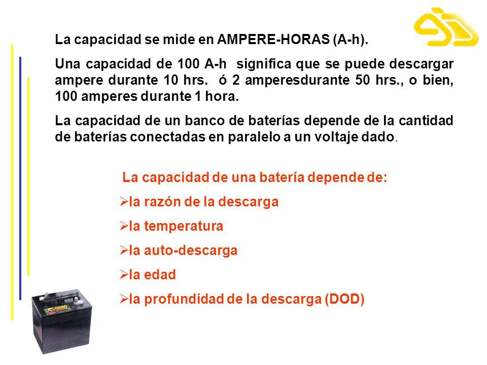 La capacidad se mide en AMPERE-HORAS (A-h). Una capacidad de 100 A-h significa que se puede descargar ampere durante 10 hrs. ó 2 amperesdurante 50 hrs
