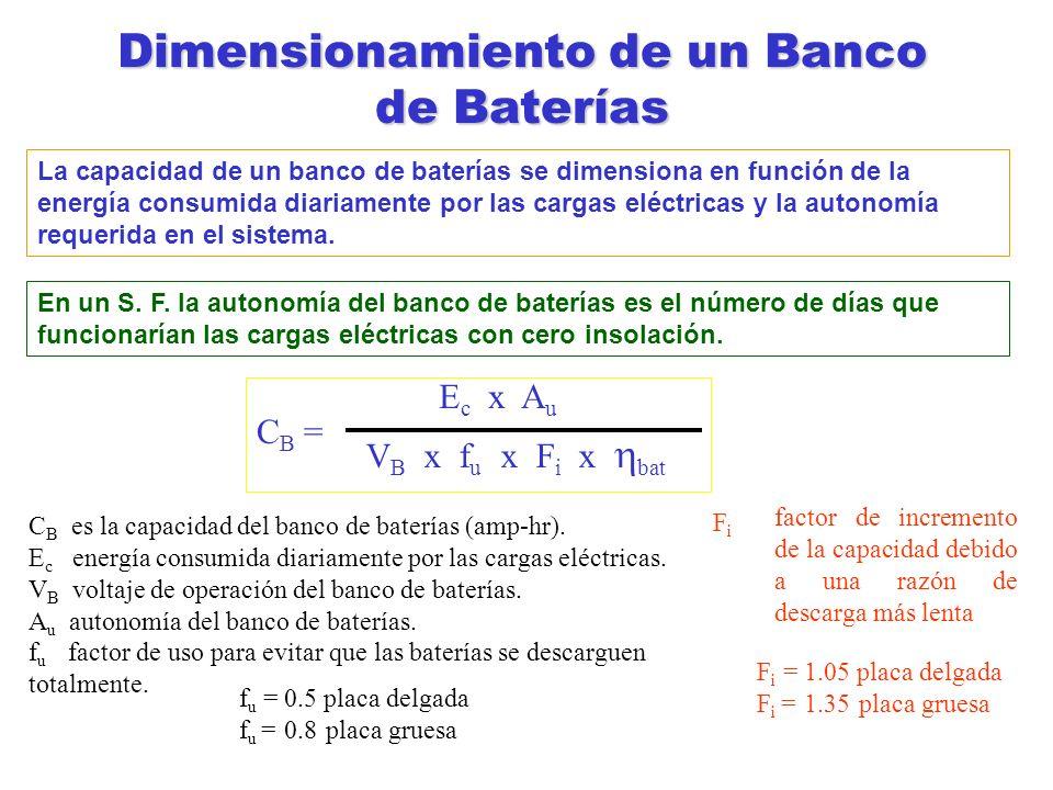 Dimensionamiento de un Banco de Baterías La capacidad de un banco de baterías se dimensiona en función de la energía consumida diariamente por las car