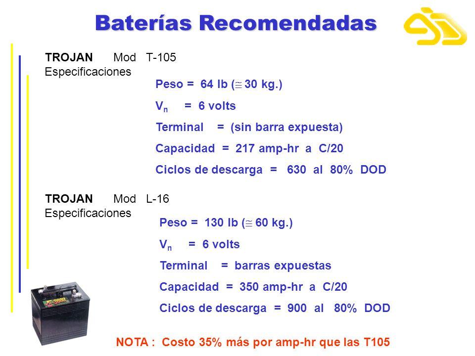Baterías Recomendadas TROJAN Mod T-105 Especificaciones Peso = 64 lb ( 30 kg.) V n = 6 volts Terminal = (sin barra expuesta) Capacidad = 217 amp-hr a